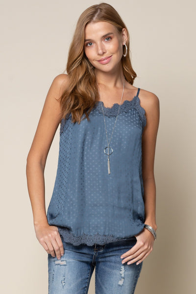 Being Romantic Dot and Lace Camisole - Multiple Colors