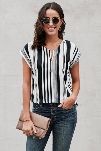 PREORDER Striped Zipper Top - MULTIPLE COLORS