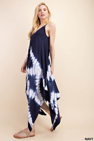 Tie Dye Shark Bite Hem Dress