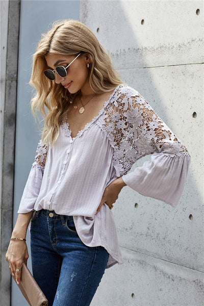 PREORDER Crochet Lace Button Top - Multiple Colors