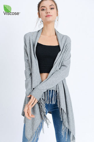 Fringe Hem Cardigan MULTIPLE COLORS