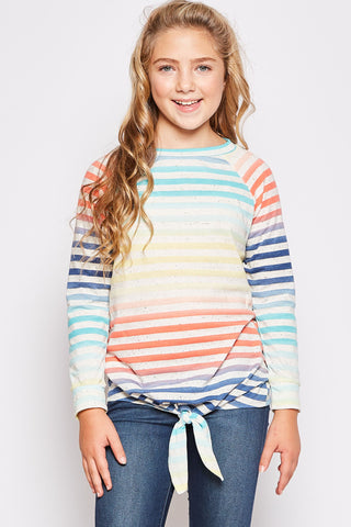 Striped Tied Tunic Top