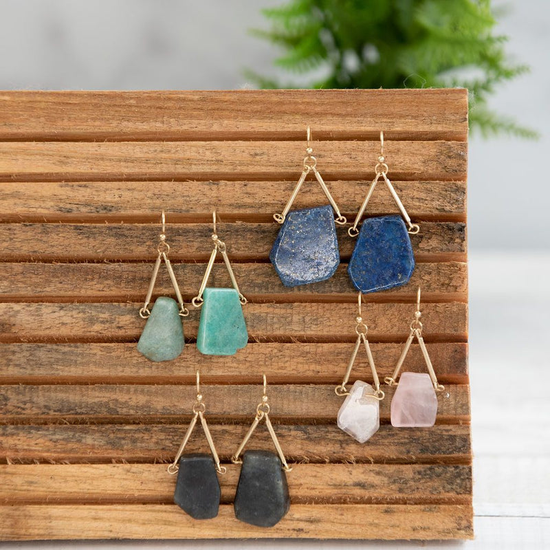 Raw Cut Stone Dangle Earrings . Available in Blush,Cobalt, Charcoal and Moss.