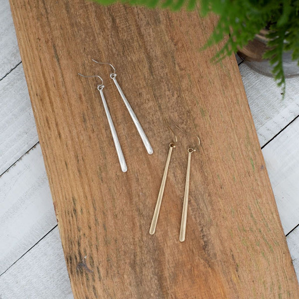 Long Bar Dangle Earrings . Available in Silver or Gold.