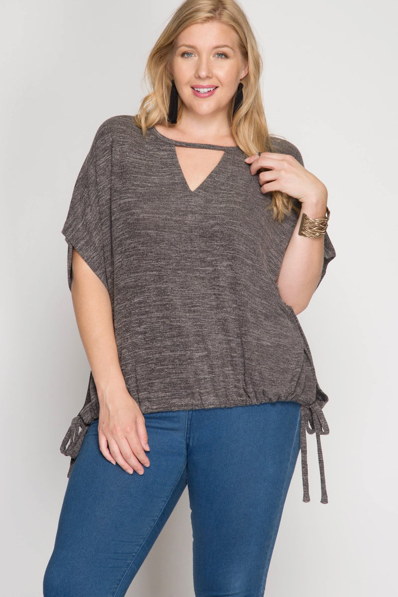 Two Tone Keyhole Top with Drawstring Hem