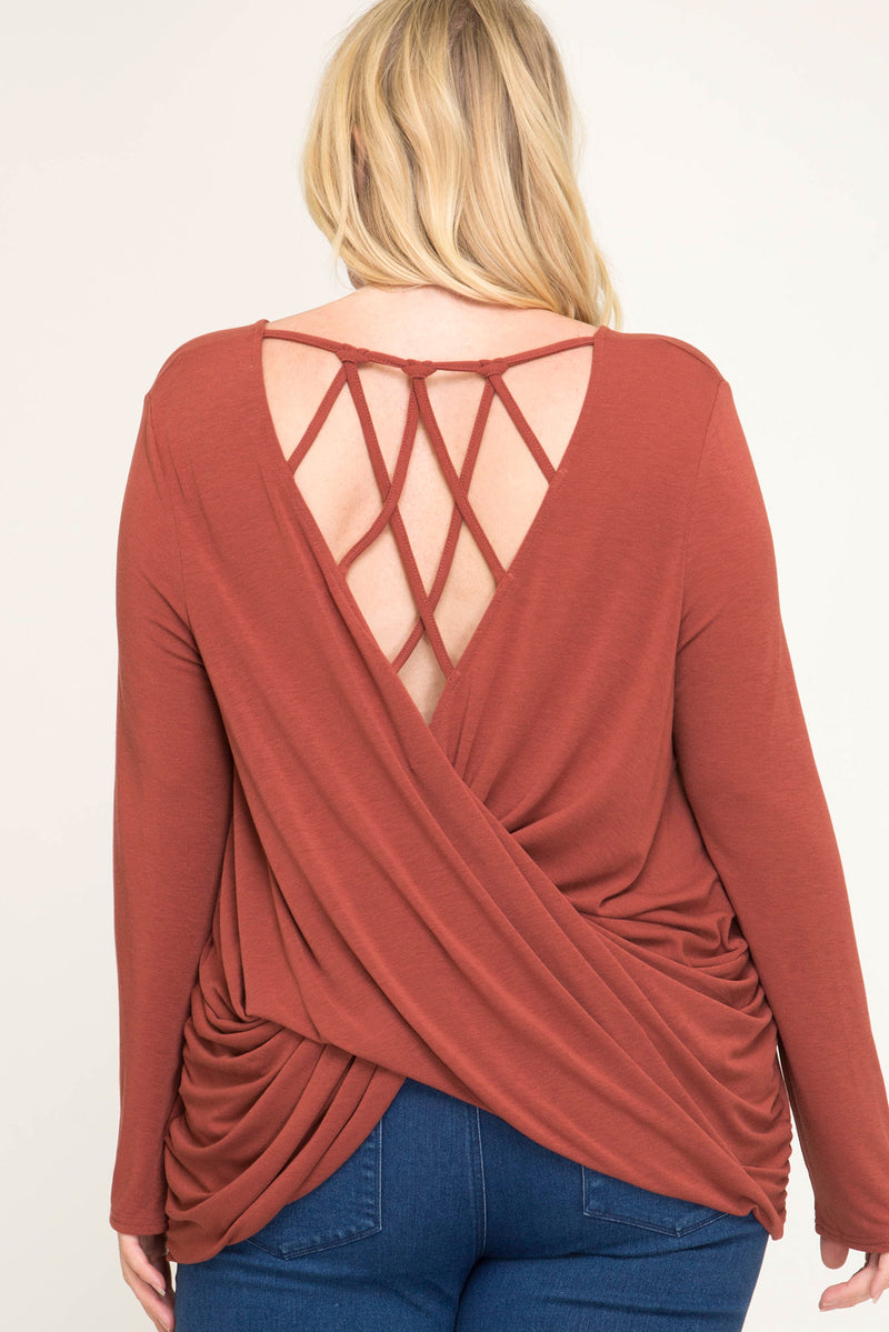 Crossband Back Top - Cinnamon