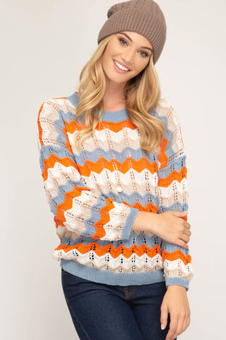 Chevron Mix Knit Sweater - MULTIPLE COLORS