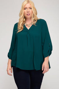 Roll Up Sleeve V-Neck Top