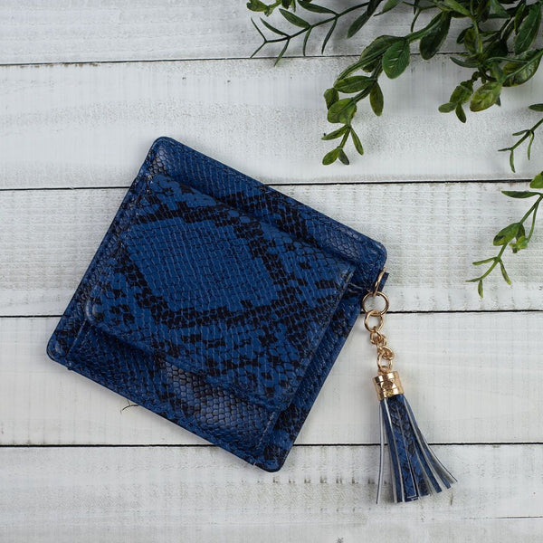 Faux Leather Snake Print Coin and Card Pouch