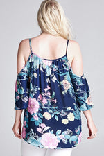 Floral Cold Shoulder with Bell Sleeves Top - Navy