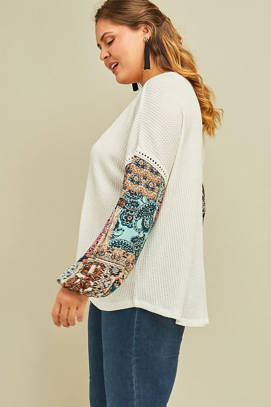 Patchwork Sleeve Waffle Knit Top