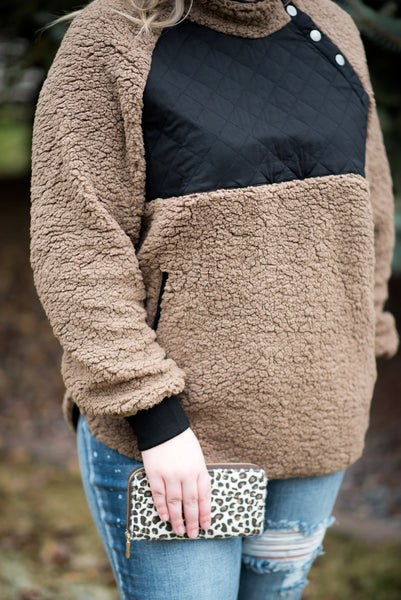 Warmest Regards Fleece Pullover In Mocha
