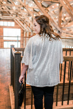 Rise To The Occasion Silver Sequined Cardigan