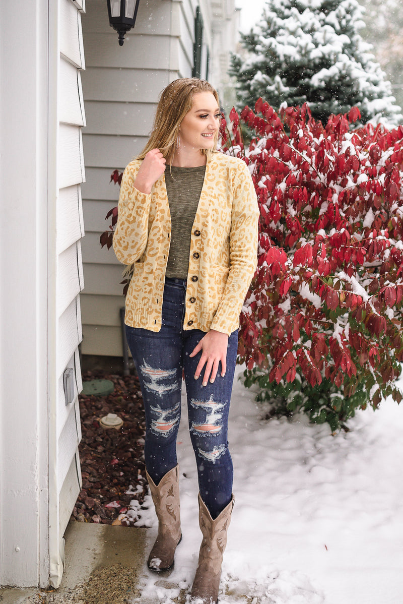 Born To Fly Gold Cheetah Button Front Cardigan