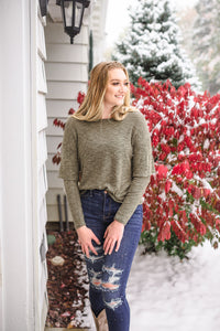 Double Vision Long Sleeve Top In Frosted Pine