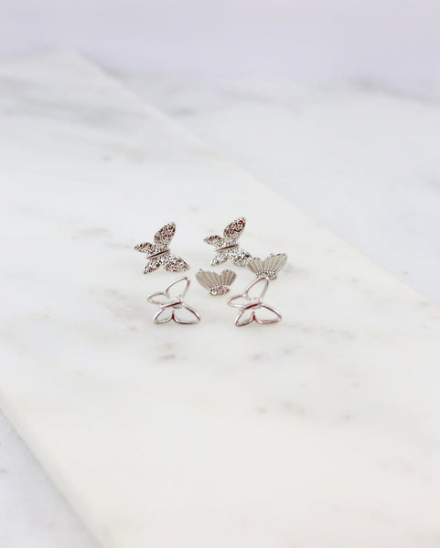 Butterfly Stud Earrings - Set of three