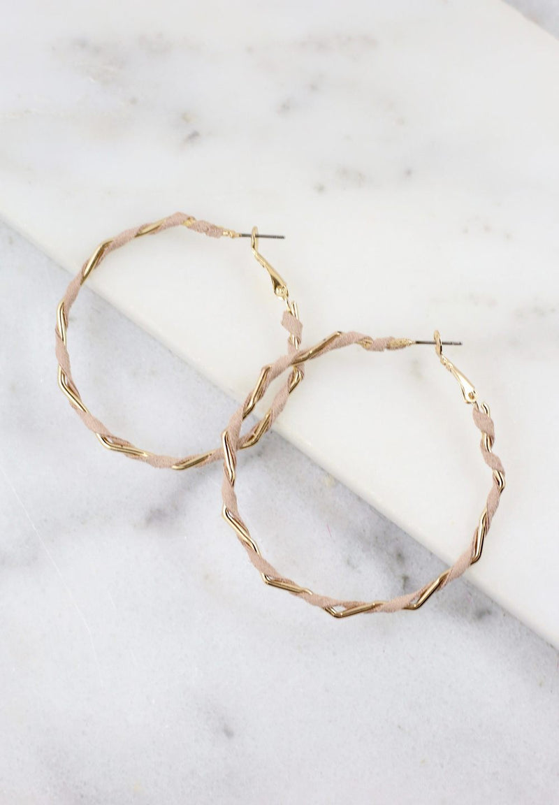 Twisted Suede Wrapped Hoop Earrings - Natural