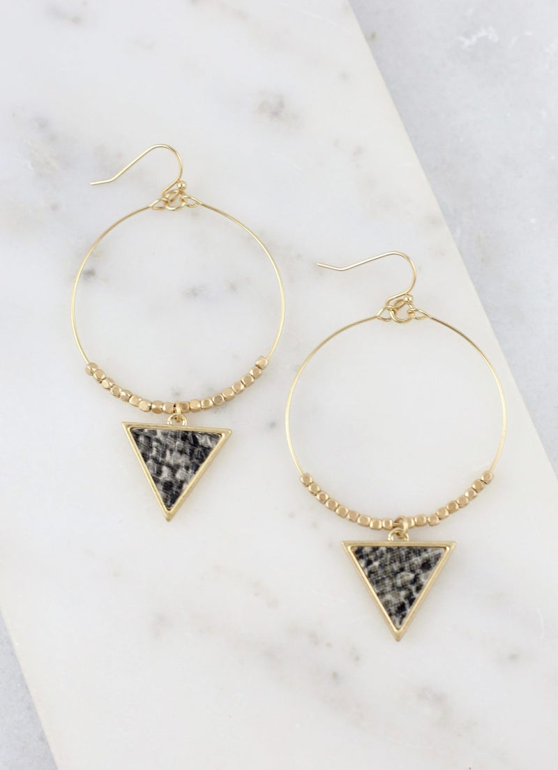 Round Fish Hook Earrings With Animal Snake Print Triangle Charm