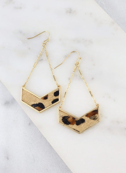 Leopard Print Chevron Bar Fish Hook Earrings