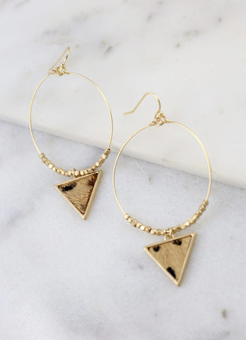 Round Fish Hook Earrings With Animal Leopard Print Triangle Charm