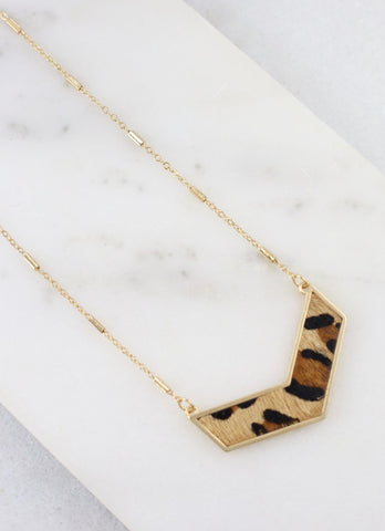 Leopard Print Chevron Bar Necklace