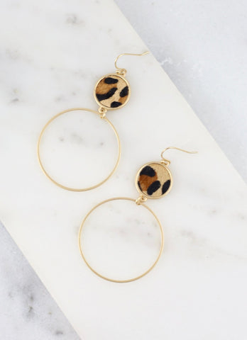 Leopard Print Double Drop Fish Hook Earrings