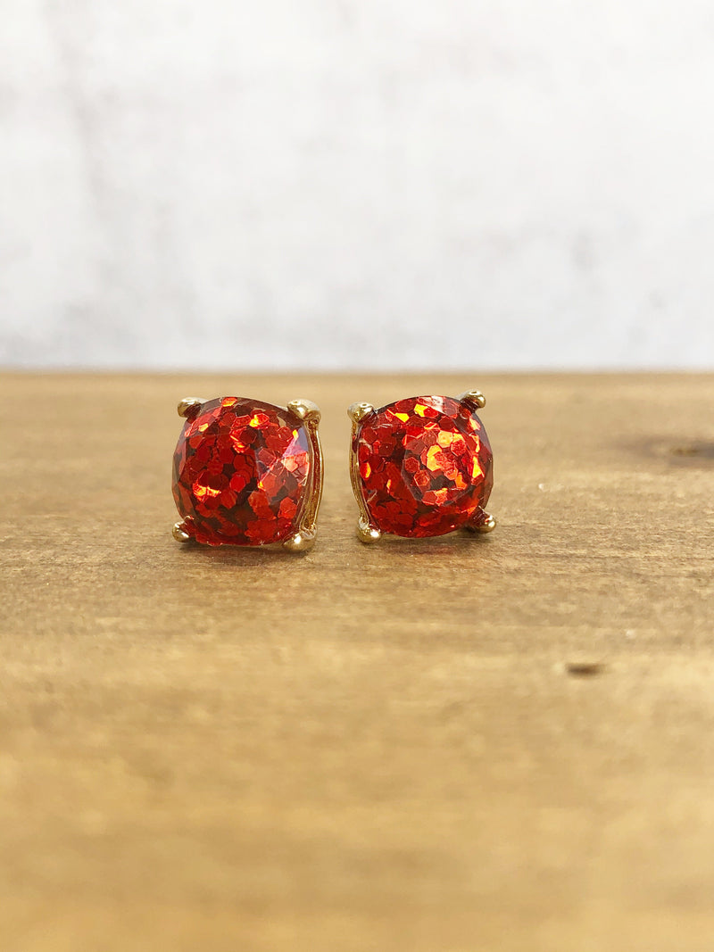 Glitter Stud Earrings : available in 6 colors