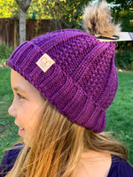 Kids Beanie with Faux Fur Pom Pom - Purple