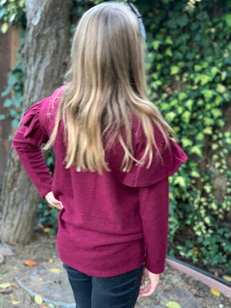 Ruffle Sleeve Sweater - Burgundy