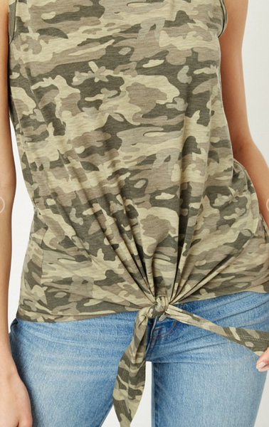 Camo Knot Front Tank Top