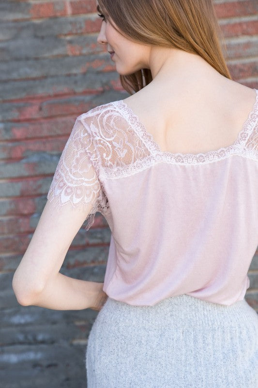 Delicate Pink Lace Tee