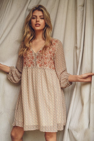 Chiffon Embroidered Babydoll Dress
