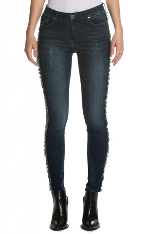 Frayed Fringe Leg Denim Jeans