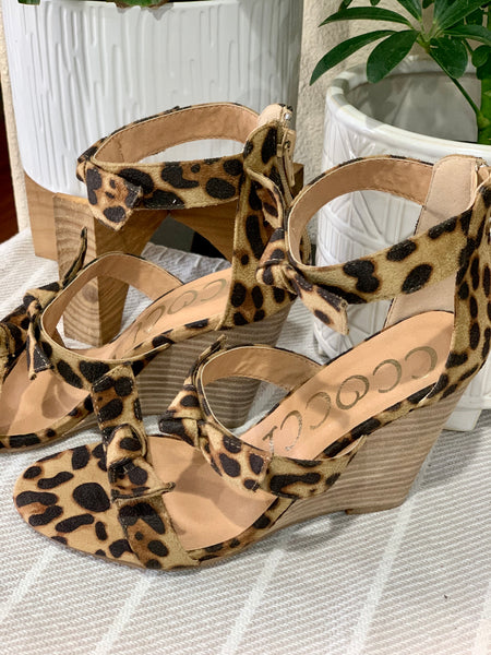 Leopard Bow Wedge Sandals