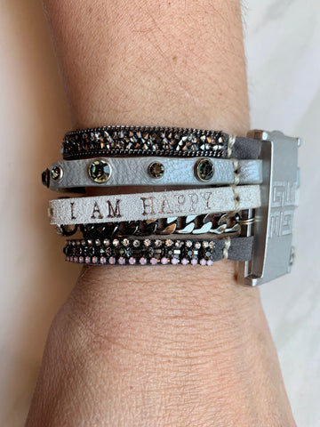 I am blessed, I am happy bracelet - White