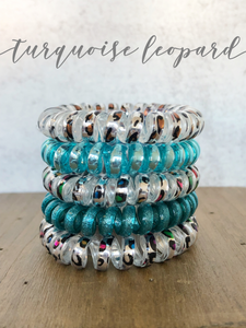Large Turquoise Leopard Lauren Lane Hair Coils
