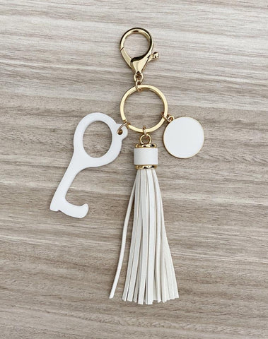 Tassel Keychain with Hands Free Device in Black or Ivory