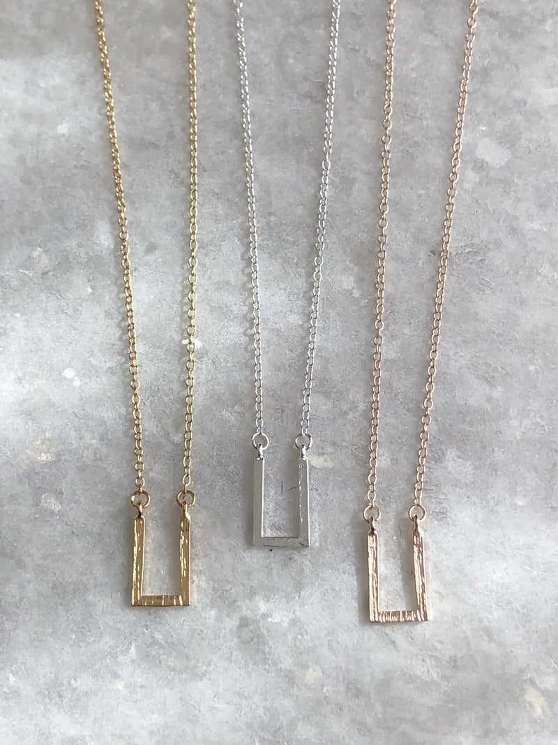 Open Box Pendant Necklace : available in silver, gold, and rose gold.