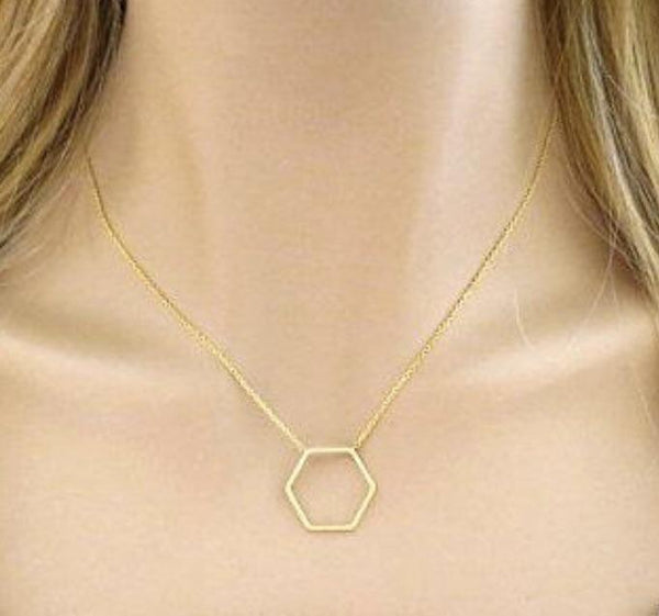 Hexagon Necklace : available in silver, gold, or rose gold.