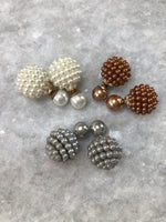 Mini Pearl Double Stud Earrings: Pearl, Mocha and Grey