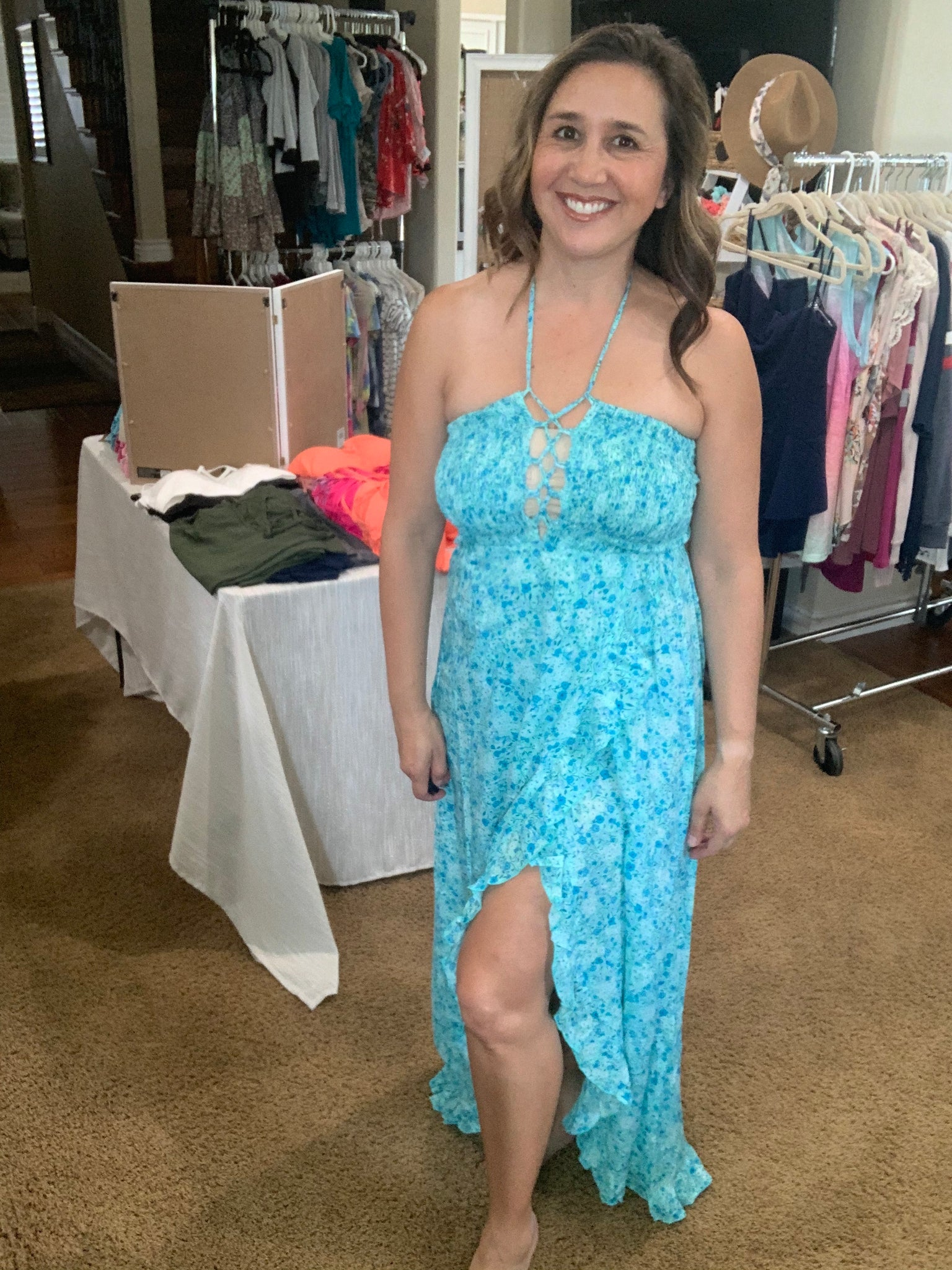 Teal Blossoms Dress