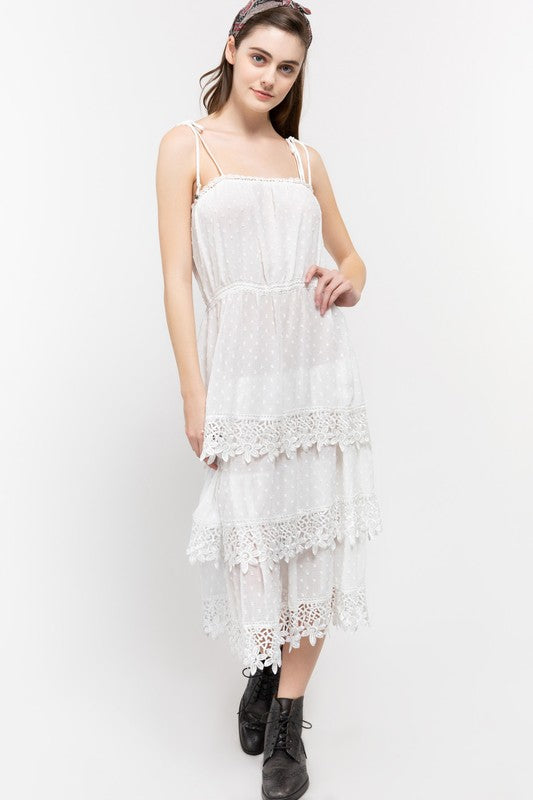 Swiss Dot Layered Lace Dress - White