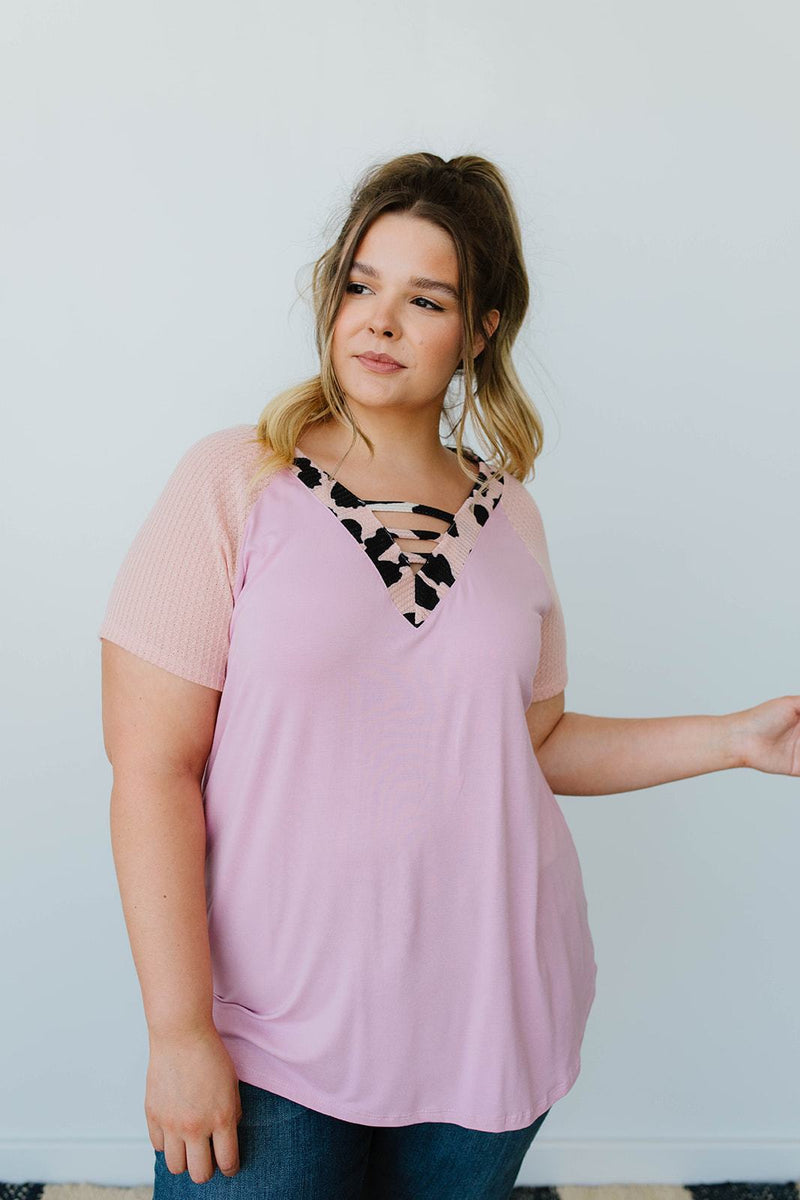 Strappy & Spotty V Top In Mauve