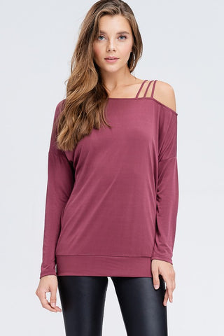 Strappy One shoulder Top - Burgundy
