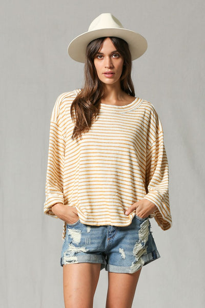 Mustard Love Stripes Top