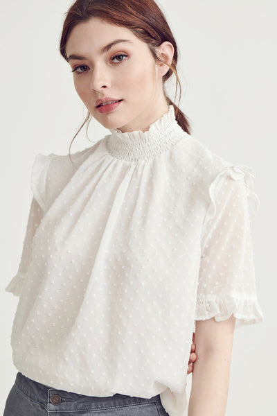 Swiss dot hight neck top - White