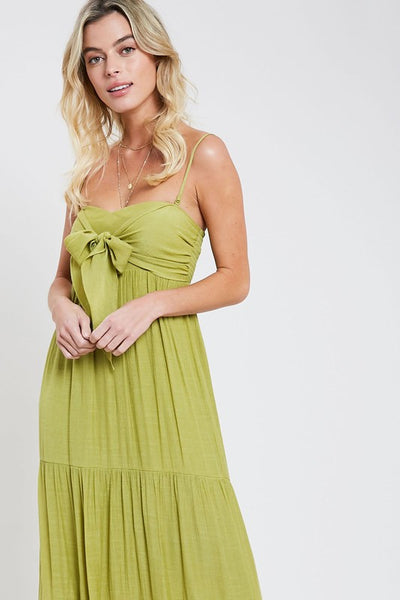 Bow tie Maxi Dress - lime