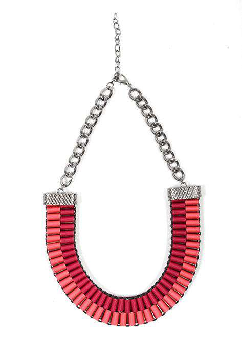 Neon Woven Ribbon fashion necklace