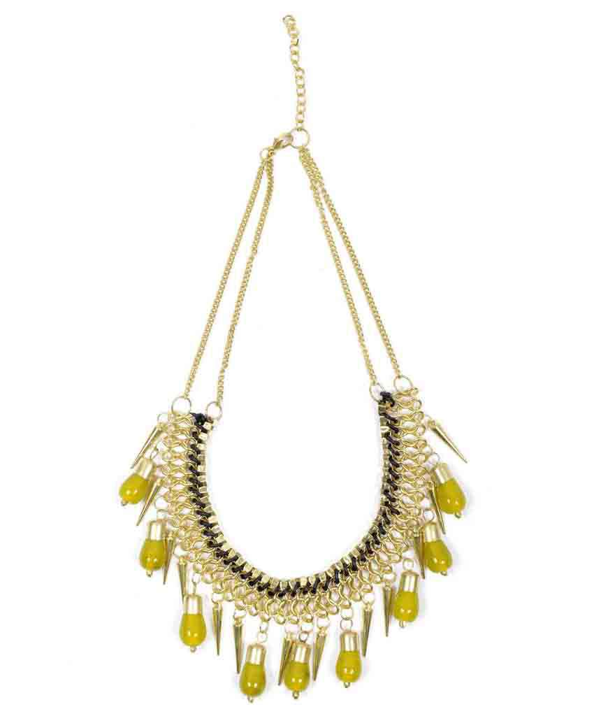 Spiked Necklace with Drop Beads