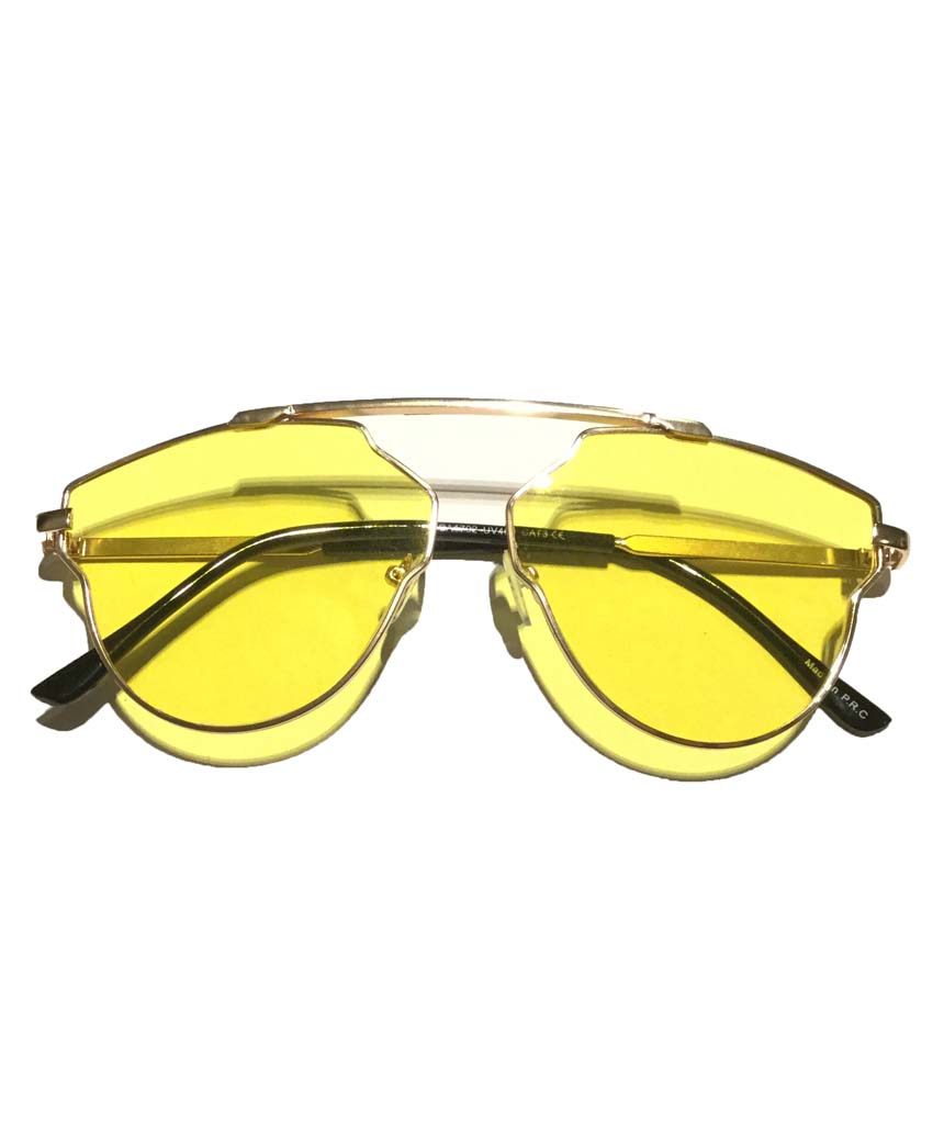 Yellow Rounded Oversized Glasses